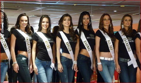 Some of the Miss Venezuela 2010 candidates lining up onstage for their presentation rehearsal.