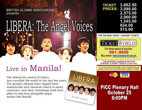 Details of Libera's upcoming concert in Manila