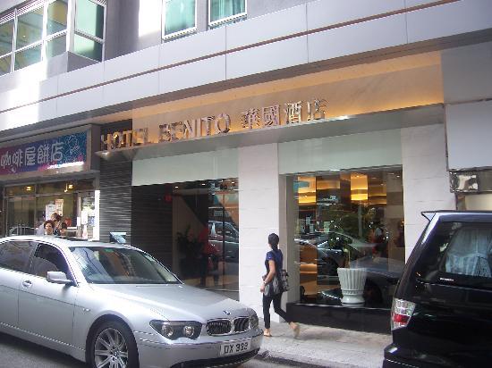 Closer look at Hotel Benito's entrance