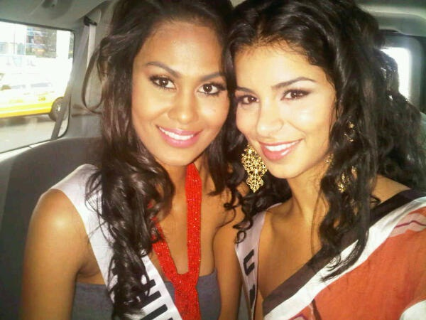 Miss Philippines Venus Raj and Miss USA Rima Fakih inside the limo that brought them to the Fadil Berisha photoshoot.