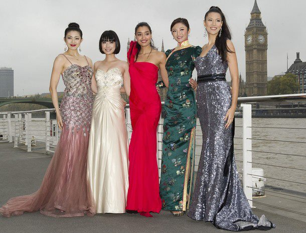 Gwendoline Ruais (extreme right) poses with (l-r) Misses China, Japan, India and Hongkong.