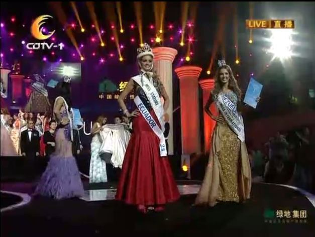 Top 3 (L-R) Mongolia (2nd ru), Ecuador (winner) and Venezuela (1st ru)
