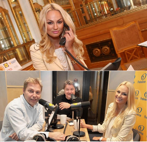 (Above photo) Tereza during a charity telethon in Prague; (bottom photo) guesting with  Těžkej Pokondr at the Frekvence 1 radio.
