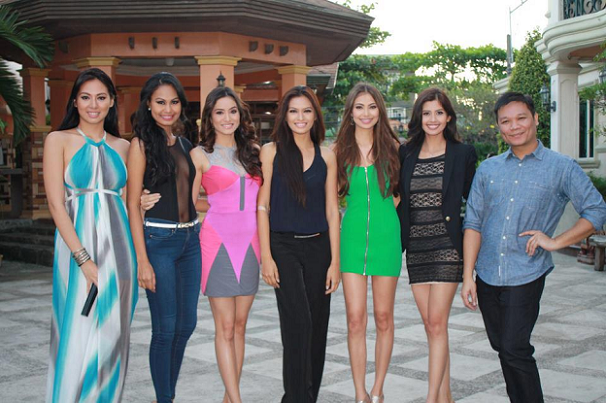 Beauty Queen maker Jonas Gaffud (extreme right) and his world-class wards (L-R) Mary Ann Ross Misa, Venus Raj, Queenie Rehman, Janine Tugonon, Marie-Ann Umali and Shamcey Supsup.