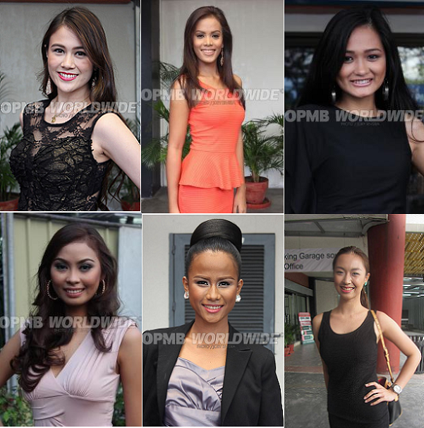 Clockwise (from top, extreme left): Nicole Donudes, Camille Nazar, KJ Cajandig, Mona Luna, Roselle Cubello and Rose Pujanes. (Photo credits: OPMB Worldwide and AsortaBeautyQueen)