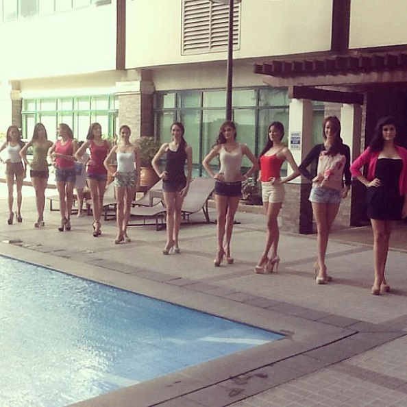 10 of the 16 Aces & Queens enlisters for Bb. Pilipinas 2013 during their final training day before the screenings commence today.