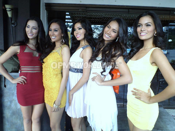 The top batch of Kagandahang Flores for Bb. Pilipinas 2013 (L-R): Bea Santiago, Hannah Ruth Sison, Zandra Flores, Parul Shah and Charmaine Elima. (Photo credit: OPMB Worldwide)