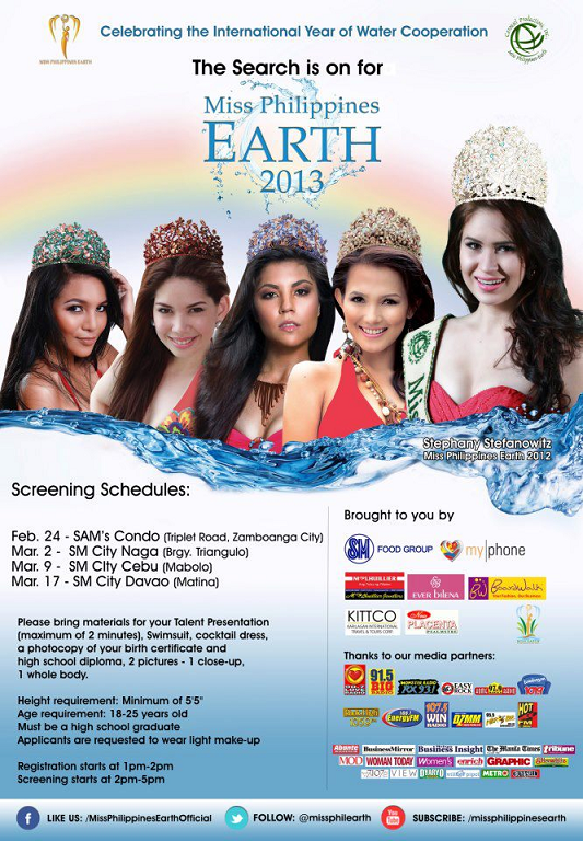 The Search for Miss Philippines Earth 2013 is now open!