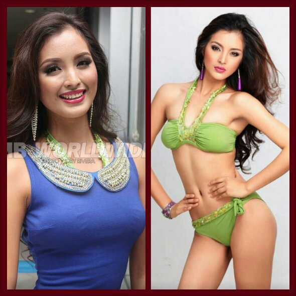 during Bb. Pilipinas 2013 screenings (L) and in two-piece swimwear