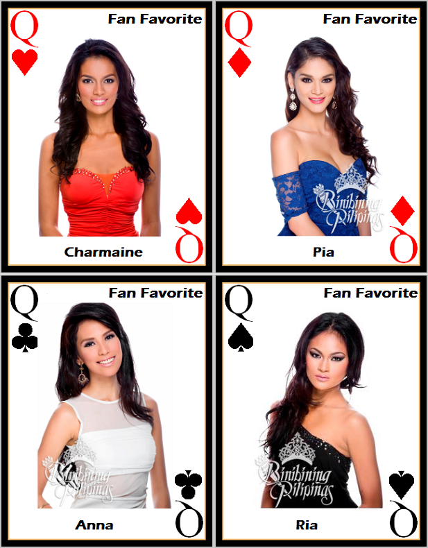 Like the four Queens in a deck of cards, this quartet of beauties represent the current top faves for Bb. Pilipinas 2013.