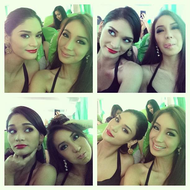 Pia Wurtzbach and Cassy Naidas clowning around.