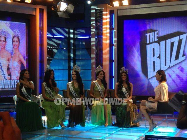 Beauties in a row (left to right): Pia Wurtzbach, Mutya Datul, Cindy Miranda, Bea Santiago, Ariella Arida and host Charlene Gonzalez. (Photo credit: OPMB Worldwide)