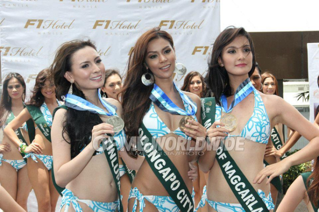 Darling of the Press winners for MPE2013 (left to right): Ferina de Paz of Muntinlupa (Silver), Angelee delos Reyes of Olongapo City (Gold) and Kimverlyn Suiza of Nagcarlan (Bronze) / Photo credit: OPMB Worldwide.