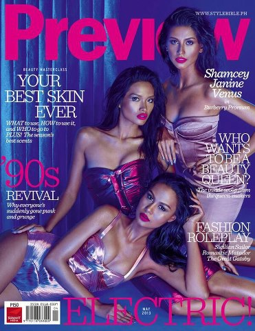 Our three Goddesses on the cover of Preview's May 2013 issue.
