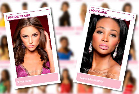 The two Miss USAs of 2012: Olivia Culpo (now MU2012) and Nana Meriwether (the new Miss USA 2012)
