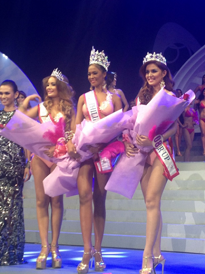 Top 3: 2nd Runner-Up Rosemary Turner, Miss Bikini Philippines 2013 Janicel Lubina and 1st Runner-Up Cheeny Racel. (Photo credit: Tristan Francisco)