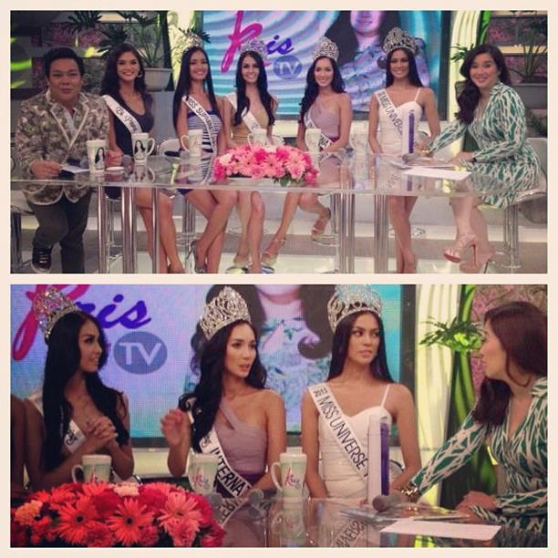 The Bb. Pilipinas 2013 winners with host Kris Auino (extreme right) and co-host John Lapus (extreme left).