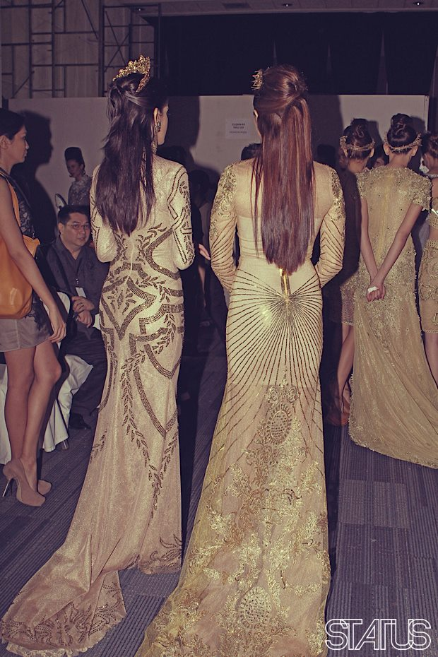 Photo above shows the back details of the gowns above (Photo credit: Status Magazine)