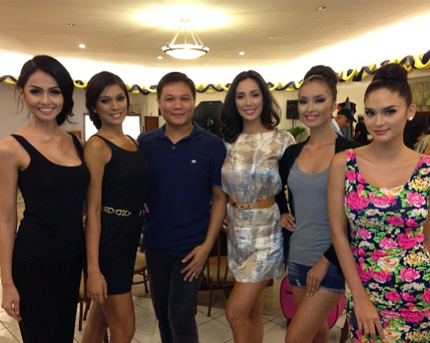 Jonas Gaffud (3rd from left) with (l-r) Cindy Miranda, Ara Arida, Bea Santiago, Mutya Datul and Pia Wurtzbach (Photo credit: Jonas Gaffud)