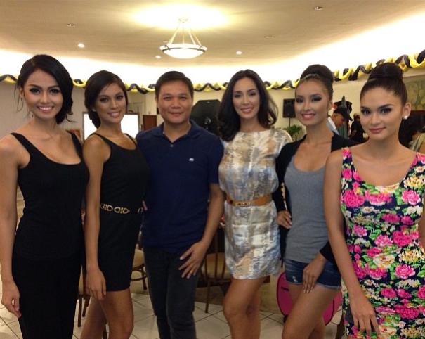 Jonas Gaffud (3rd from left) with (l-r) Cindy Miranda, Ara Arida, Bea Santiago, Mutya Datul and Pia Wurtzbach (Photo credit: Jonas Gaffud)
