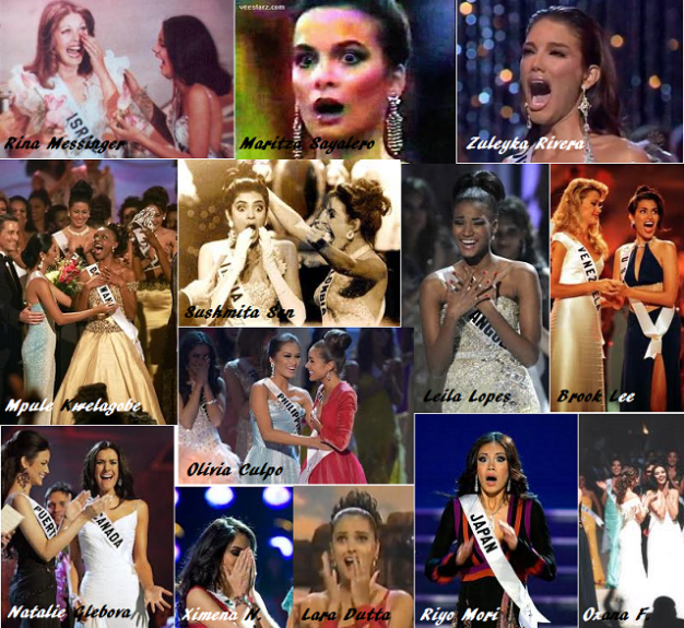 Reactions of randomly-selected Miss Universe winners from 1976 to 2012