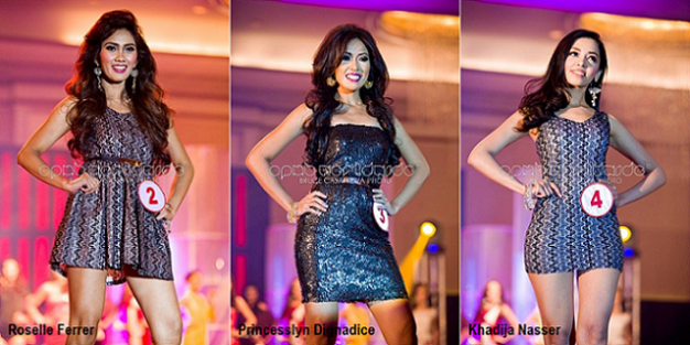 Candidates #2, #3 and #4 walking the ramp during the Gala Night. (Photo credit: OPMB Worldwide/Bruce Casanova)
