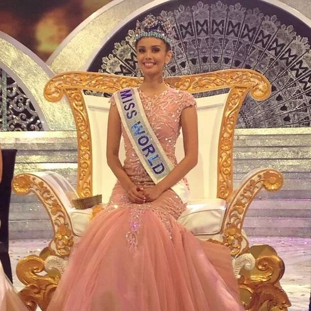 Miss World 2013 Megan Young seating on her throne