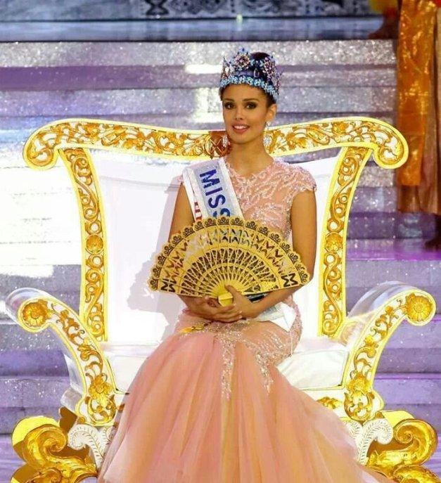 A golden fan instead of a scepter for Miss World 2013