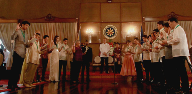 Megan (5th from left) taking her oath at Malacanang Palace.