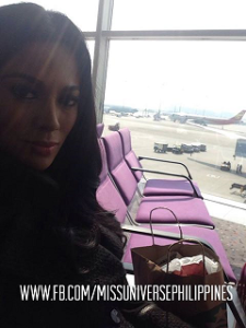 Ariella before boarding her Aeroflot flight to Moscow.