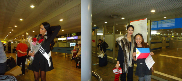 Ariella (L) and Riza upon their respective arrivals at airport in Moscow.