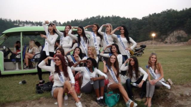 Miss Philippines Cindy Miranda (1st from right, standing) is looking at making it 3-for-3 for the Philippines in MTQI2013