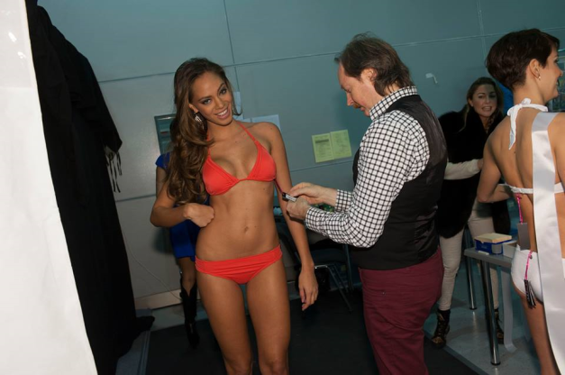 Miss France Hinarani de Longeaux getting her Yamamay swimsuit fitted.