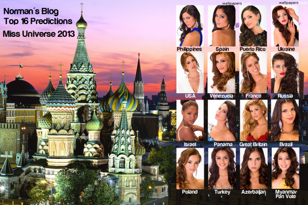 With confidence, I present to you my final predictions for the Top 16 of Miss Universe 2013.