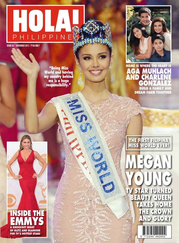 Miss World 2013 Megan Young on the cover of Hola Magazine Philippines' November 2013 issue.