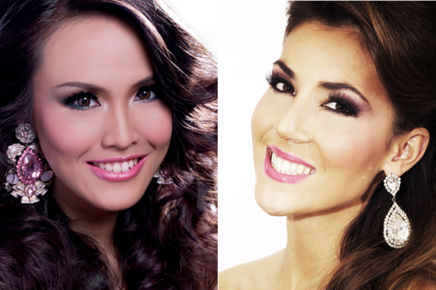 Nita Sofiani of Indonesia (left) and Sophie Garenaux of France compete in Miss Earth 2013.
