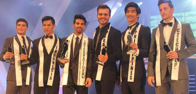 Top 6 (left to right): 3rd RU Gans Briseno of Mexico, 1st RU Albern Sultan of Indonesia, Mr. International 2013 Jose Anmer Paredes of  Venezuela, 2nd RU Jhonathan Marko of Brazil, 4th RU Gil Wagas of the Philippines and 5th RU Antonin Berenek of Czech Republic (Photo credit: Global Beauties)