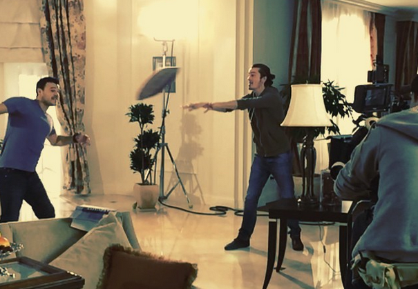 Emin (left) while shooting the new music video
