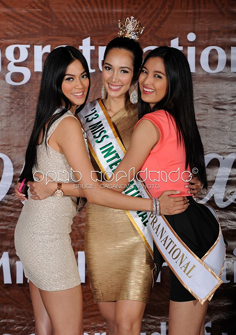 Victors for Bb. Pilipinas (left-right) Miss Universe 2013 3rd Runner-Up Ariella Arida, Miss International 2013 Bea Rose Santiago and Miss Supranational 2013 Mutya Datul (Photo credit: Bruce Casanova/OPMB Worldwide)