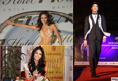 Angelee delos Reyes (top left) placed Top 8 in Miss Earth with Cindy Miranda making Top 10 in MTQI and Gil Wagas (right) ranking 5th in Mister International