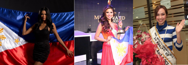 The 3rd Runners-Up: (left to right) Ariella Arida in Miss Universe 2013,  Ali Forbes in Miss Grand International 2013 and Koreen Medina in Miss Intercontinental 2013.