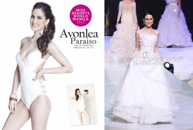 Avonlea Paraiso finished 1st Runner-Up in the recent finals of Miss Resorts World Manila 2013.