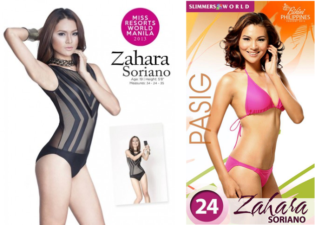 Zahara Soriano: for Miss Resorts World Manila 2013 (left) and for Miss Bikini Philippines 2013.