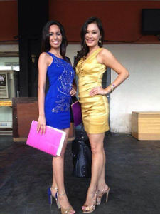 Gabe (left) when she filed her Bb. Pilipinas 2014 application with Meryl Angeline King