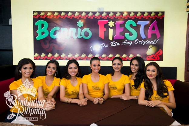 (L-R) Angelique, Janine, Leona, Jeslyn, Vessica, Krystal and Yvethe pose for Barrio Fiesta