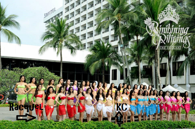 So you can compare the height of Racquel and KC, the group photo above has them specifically arrowed.