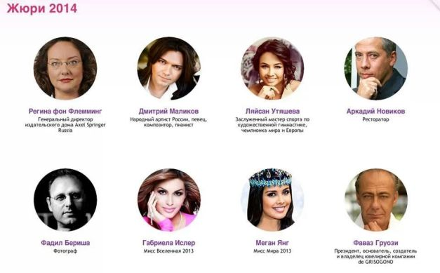 Molly and Megan listed as judges in Miss Russia 2014.