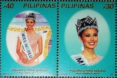 Miss World 2013 Megan Young on Philippine stamps