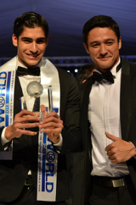 Mr. World 2012 Francisco Javier Escobar Parra of Colombia (left) with his 1st Runner-Up Andrew Wolff of the Philippines