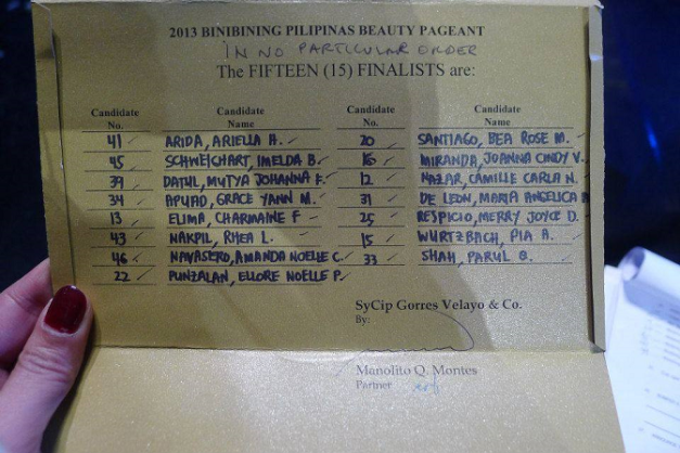 This was how the envelope - containing the names of the Fifteen(15) Finalists during Bb. Pilipinas 2013 - looked like.  (Photo credit: Sahara Jessica Parker)